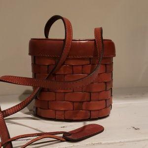 Etienne Aigner brown leather basket crossbody bag
